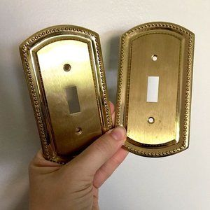 Set of 2 Vintage Brass Switchplate Covers